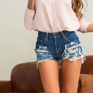 Womens Vintage Distressed Jean Shorts, Sexy Shorts